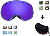 Ski bril + hard case lens Smoke Bleu frame Blauw F type 3 Cat. 0 tot 4 - ☀/☁  extra lens is optie.