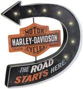 Harley-Davidson® Road Starts Here Bar & Shield Marquee Metalen Pub Bord Met LED-verlichting