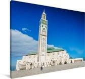 Hassan II-moskee met een helder blauwe lucht in Casablanca Canvas 30x20 cm - klein - Foto print op Canvas schilderij (Wanddecoratie woonkamer / slaapkamer)