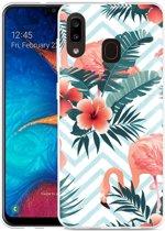 Galaxy A20 Hoesje Flamingo Flowers