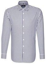Seidensticker gestreept overhemd tailored fit paars / groen, maat 44