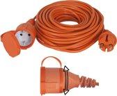 Exin Verlengsnoer - 20 meter -  2 x 1,5mm² - IP44 Spatwaterdicht - Oranje