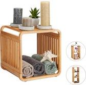 relaxdays bamboe kastje - badkamerkast - vakkenkast - schoenenkast - kubuskast - kubus 2