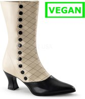 Victorian-123 Boot with short heel and decorative buttons cream matt - (EU 40 = US 10) - Funtasma