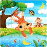 Baby - Kinder - Dieren - Puzzel - Hout - 0-4 jaar - Aapje - Formaat puzzel : 14.8 cm X 14.8 cm X 0.6 cm