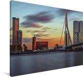 Zonsondergang in de Nederlandse stad Rotterdam Canvas 140x90 cm - Foto print op Canvas schilderij (Wanddecoratie woonkamer / slaapkamer) / Europese steden Canvas Schilderijen
