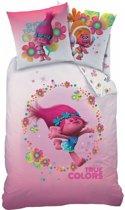 Trolls True Colors - Dekbedovertrek - Eenpersoons - 140 x 200 cm - Roze