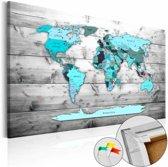 Afbeelding op kurk - Blauwe continenten, wereldkaart, Blauw/Grijs, Hout look op Doek, 3 Maten, 1luik