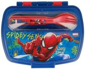 Spiderman lunchbox met vork en lepel