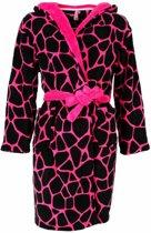 Meisjesbadjas met capuchon. Pink giraf print -T7-8-9
