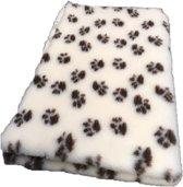 Topmast Vetbed Hondendeken Dierenmat - Crème Met Voetprint - Anti Slip - 150 x 100 cm