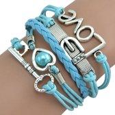 Fako Bijoux® - Multi Armband - Sleutel Hart Gesp Love - Lichtblauw