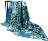 Premium Zijden Sjaal - Lente Van Gogh Amandelbloesem Print - Luxe Shawl - Groen Blauw Stola - groot omslagdoek schilderij
