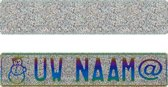 Fantasieplaat Glitter Zilver - Funplaat op naam 520 x 110 mm