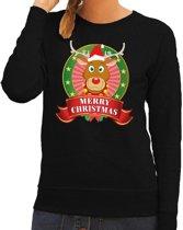 Foute kersttrui / sweater Rudolf - zwart - Merry Christmas voor dames M (38)