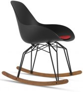 Kubikoff Diamond Dimple Closed Rocking Chair - Zwart Onderstel - Walnoot Slices - Zwarte Zitting