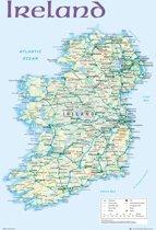 Poster Ierland-Ireland-kaart  (61x91.5cm)