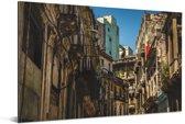 Oude architectuur in de straten van Habana Vieja Aluminium 120x80 cm - Foto print op Aluminium (metaal wanddecoratie)