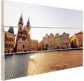 Oude Stadsplein Praag Hout 60x40 cm - Foto print op Hout (Wanddecoratie)