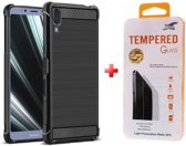 Silicone gel zwart hoesje Sony Xperia L3 met glass screenprotector