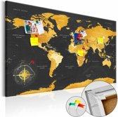 Afbeelding op kurk - Gouden wereldkaart