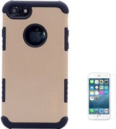 Teleplus iPhone 5s Armour Hybrid Double Layer Flip Leather Case Gold + Glass Screen Protector hoesje