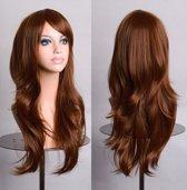 Luxe lange bruine pruik - wig lang bruin met schuine pony - haarwerk carnaval