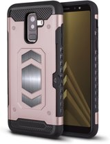 Ntech Samsung Galaxy A6 Plus Luxe Armor Case met Pashouder - Rose Goud