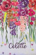 Colette: Personalized Lined Journal - Colorful Floral Waterfall (Customized Name Gifts)
