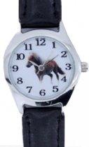 Paard -horloge -zwart- 26 mm- leer- gratis batterij-Gratis paarden ketting