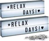 relaxdays 2 x lichtbak met letters   symbolen - LED lightbox - op batterijen - 50 x 15 cm