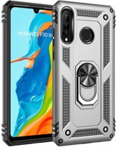 Teleplus Huawei P30 Lite Vega Ringed Tank Cover Case Silver hoesje