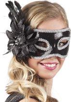 Venetiaans masker met zwarte bloem voor volwassenen - Verkleedmasker - One size