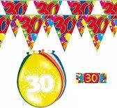 2x 30 jaar vlaggenlijn/slinger + ballonnen