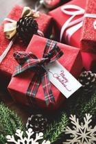 Merry Christmas Journal-Red Plaid Ribbon & Presents