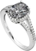 Diamonfire - Zilveren ring met steen Maat 18.5 - Grijze steen - Ovaal