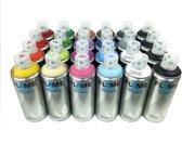 Molotow graffiti spuitbussen pakket - 24 diverse kleuren spuitbussen lage druk en matte afwerking - Verf is op acryl basis - Spuitverf voor binnen en buiten gebruik voor vele doeleinden, zoals klussen, graffiti, hobby en kunst
