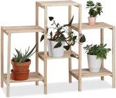 relaxdays plantenrek hout - plantenetagère rustiek - bloemenrek voor binnen - naturel M