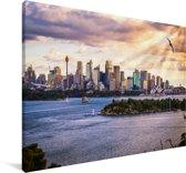Zonnestralen schijnen op de Australische stad Sydney Canvas 140x90 cm - Foto print op Canvas schilderij (Wanddecoratie woonkamer / slaapkamer)