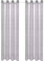 Glasgordijnen geweven gestreept 140x175 cm grijs 2 st
