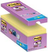 Value Pack: Post-it® Super Sticky Notes, Canary Yellow™, 76mm x 76 mm, 14 blokken + 2 GRATIS