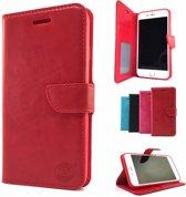 Rode Wallet / Book Case / Boekhoesje iPhone 7 met vakje voor pasjes, geld en fotovakje