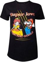 Nintendo Super Mario Dames Tshirt -2XL- Super Love Zwart