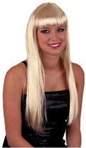 Blonde damespruik met pony en lang stijl haar
