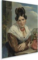 Rustend meisje - Schilderij van Jan Adam Kruseman Plexiglas 30x40 cm - klein - Foto print op Glas (Plexiglas wanddecoratie)