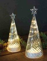 Sirius-Glazen kerstboom Wave met LED lampjes