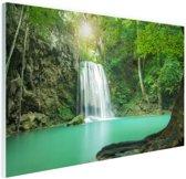 Erawan jungle waterval Glas 90x60 cm - Foto print op Glas (Plexiglas wanddecoratie)