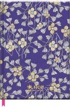 Rice Notitieboek met bloemen - A5 - Paars