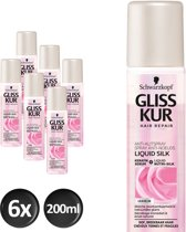 Schwarzkopf Gliss Kur Liquid Silk Gloss Anti-klit Spray 200 ml - 6 stuks - Voordeelverpakking