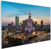 FotoCadeau.nl - Zonsondergang Warschau Glas 90x60 cm - Foto print op Glas (Plexiglas wanddecoratie)